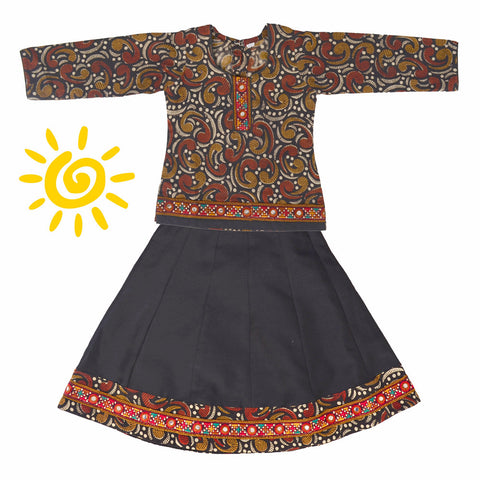 Black & Brown Paisley Cotton Lehenga & Blouse with Mirror Embroidered Border - The Ethnic Fix - Dubai - UAE