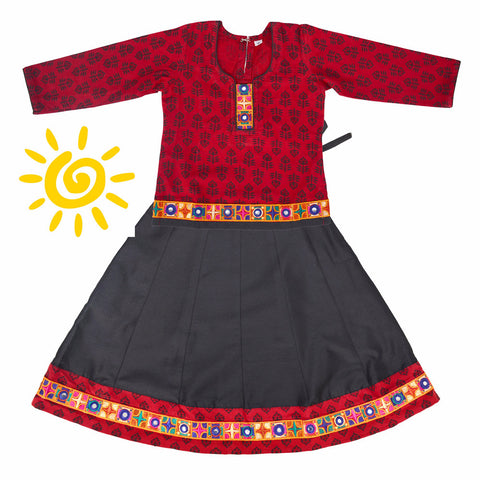 Black & Red Floral Cotton Lehenga & Blouse with Mirror Embroidered Border - The Ethnic Fix - Dubai - UAE