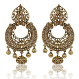 Gold Finish Floral Leaf Top Dangler Earrings with Golden Stones - The Ethnic Fix - Dubai - UAE