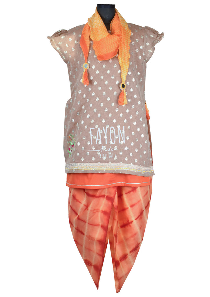 Brown Foil Print Kurti with Orange Tie & Die Dhoti - The Ethnic Fix - Dubai - UAE