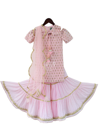 Baby Pink Embroidery Choli with Sharara - The Ethnic Fix - Dubai - UAE