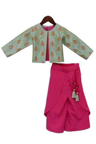 Candy Pink Crop Top Dhoti with Green Embroidery Jacket - The Ethnic Fix - Dubai - UAE