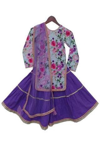 Blue Cotton Printed Kurti with Purple Cotton Sharara - The Ethnic Fix - Dubai - UAE