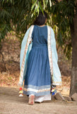 Indigo Anarkali Set-Set of three