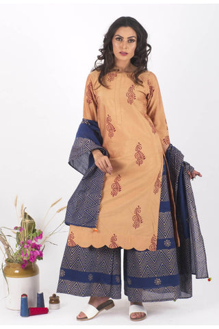 Anam Chanderi Gold Print Set - The Ethnic Fix - Dubai - UAE