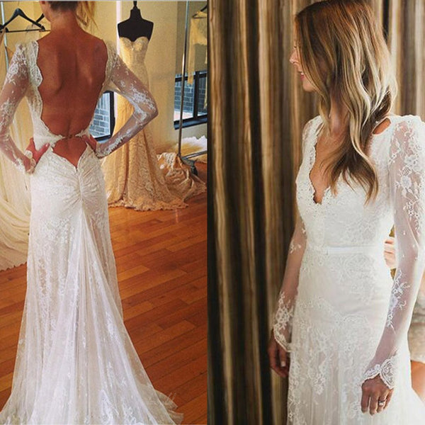 Sexy V-neck Open Back Mermaid Long Sleeve White Lace Tulle Wedding Party Dresses, BG0193