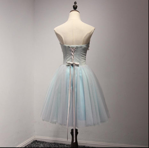 Sweetheart Light Blue Tulle Appliques Beaded A-line Lace Up Homecoming Dresses, HD009
