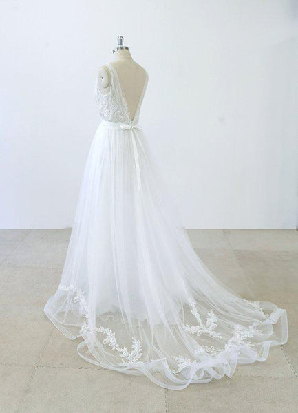 2018 Simple V Neck Lace Chapel Tail A-line White Wedding Dresses Online, WD372