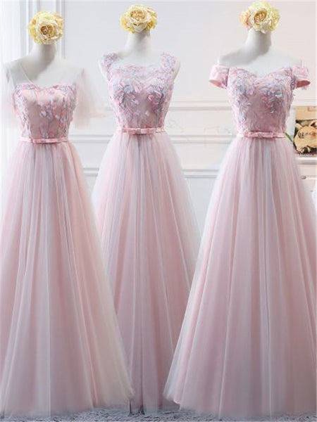 Applique Tulle and Satin With Rosette Long Dress Affordable Bridesmaid Dresses,WGY0407