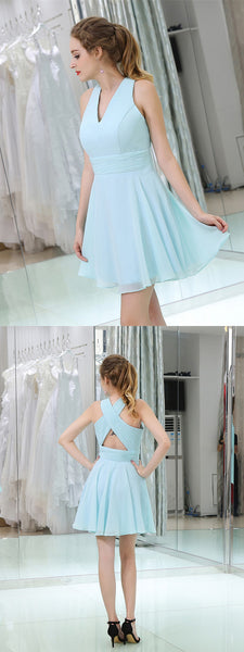 Straps Pleats Zipper Closure Criss-cross Back Chiffon Homecoming Dresses, HD086