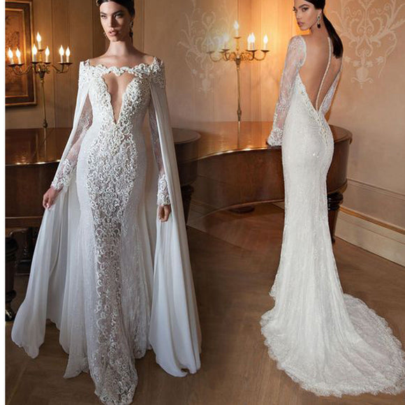 2017 Lace Deep V-Neck Mermaid With Long Sleeves Open back Charming Prom Dresses. RG020