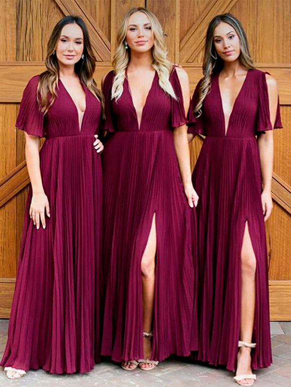 Burgundy Chiffon V-neck Half Sleeve Side Slit A-line Bridesmaid Dresses,PB1080