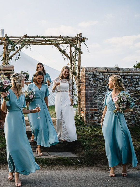 Light Blue Chiffon Half Sleeve Boho Wedding Long Bridesmaid Dresses,PB1082