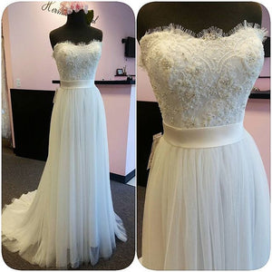 Ivory Applique Tulle Formal Cheap Custom Make Prom Dresses, PM0129 - Prom Muse