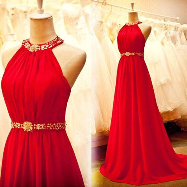 Red Halter Elegant Online Cheap Long Prom Party Dresses, PM0163 - Prom Muse