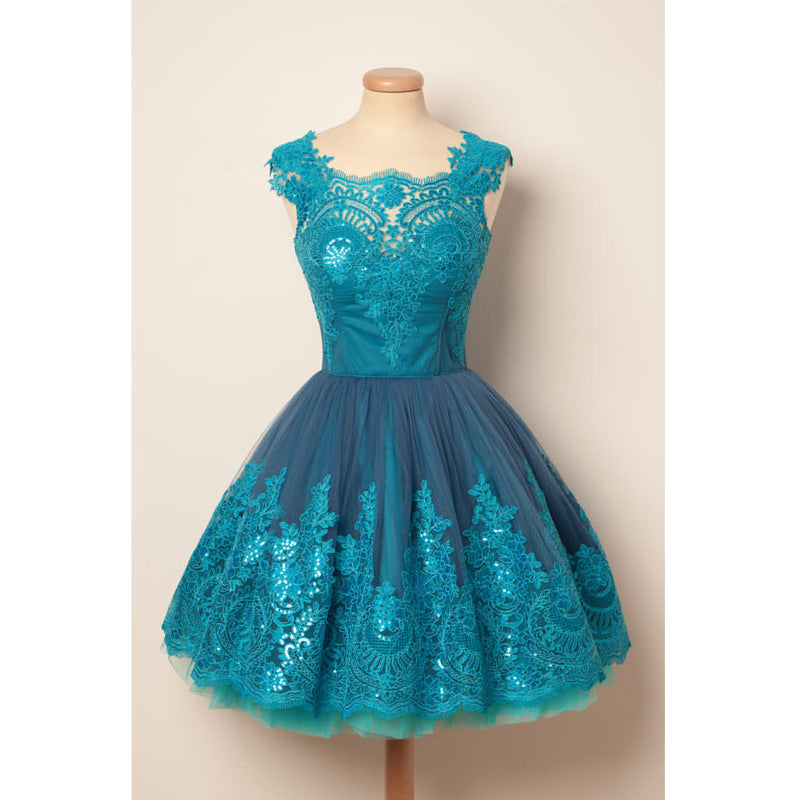 Blue Unique Applique Lovely Affordable Short Homecoming Dresses, PM0424 - Prom Muse