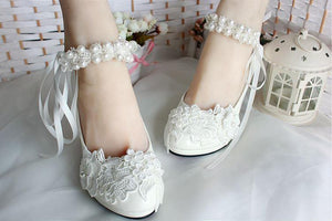 Lace Pearls Pointed Toes Women Wedding Shoes With Ribbons Lace Up, S018 - Prom Muse