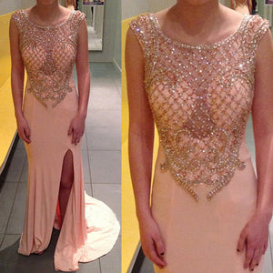 Sexy Seen Through Side Split Beaded Long Prom Dresses, PM0046