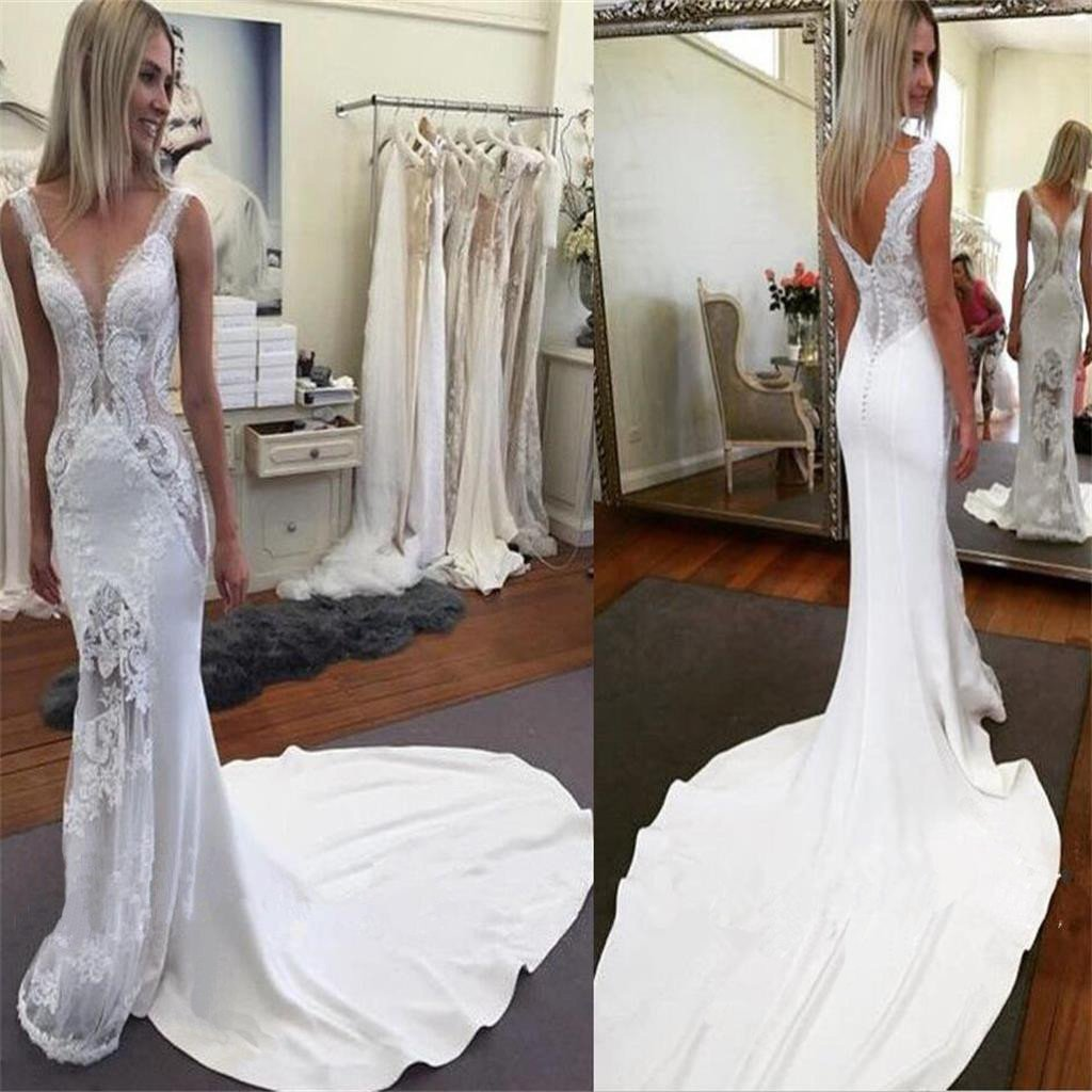 Lace Mermaid V Neck Sexy Inexpensive Long Bridal Wedding Dresses, PM0637 - Prom Muse