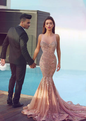 Long Mermaid Sexy Applique Gorgeous Lace Prom Dress, PM0070 - Prom Muse