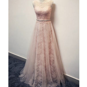 Charming Blush Pink Lace Formal Applique Long Prom Dresses, PM0096 - Prom Muse