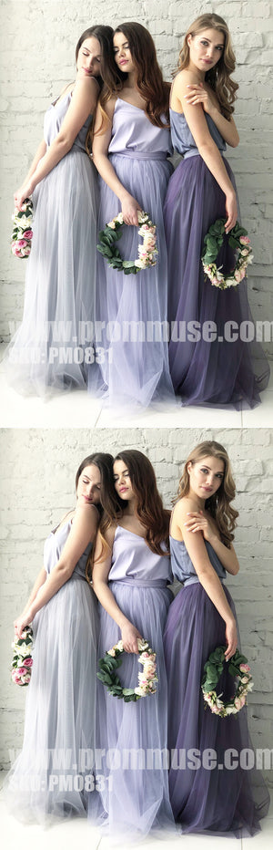 Two Pieces Spaghetti StrapTulle Wedding Long Cheap Bridesmaid Dresses, PM0831