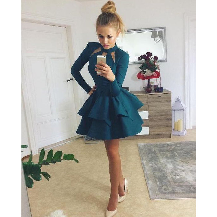 Long Sleeves Modest Teal Green Cheap Short Homecoming Dresses, LD143 - Prom Muse