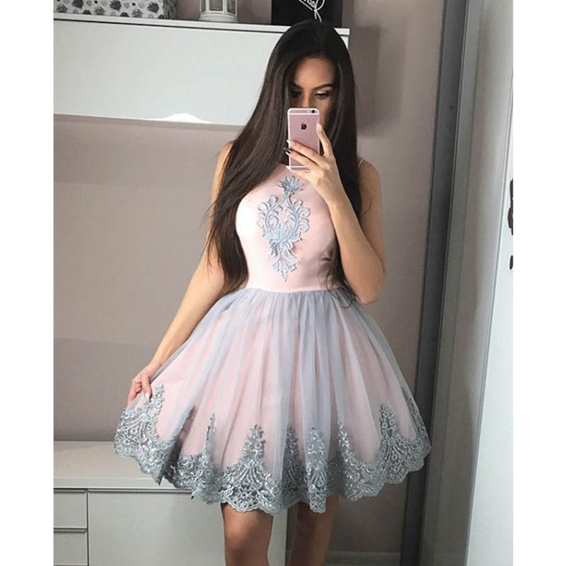 Lovely Unique Applique Tulle Inexpensive Short Homecoming Dresses, LD101 - Prom Muse