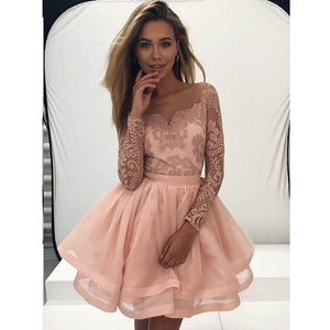 Lovely Unique Lace Long Sleeves Affordable Short Homecoming Dresses, LD114 - Prom Muse