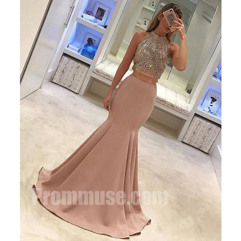 2 Pieces Beaded Top Mermaid Popular Inexpensive Long Prom Dresses, PM1015 - Prom Muse