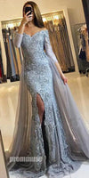 Gorgeous Long Sleeves Off the Shoulder Split Long Evening Prom Dresses, PM1061 - Prom Muse