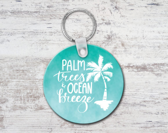 Palm Trees Ocean Breeze Keychain