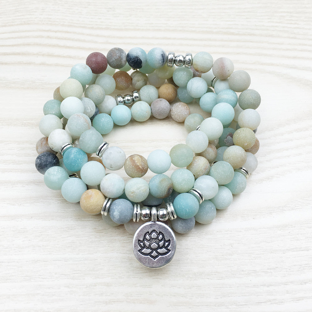 Amazonite Mala Bead Bracelet/Necklace