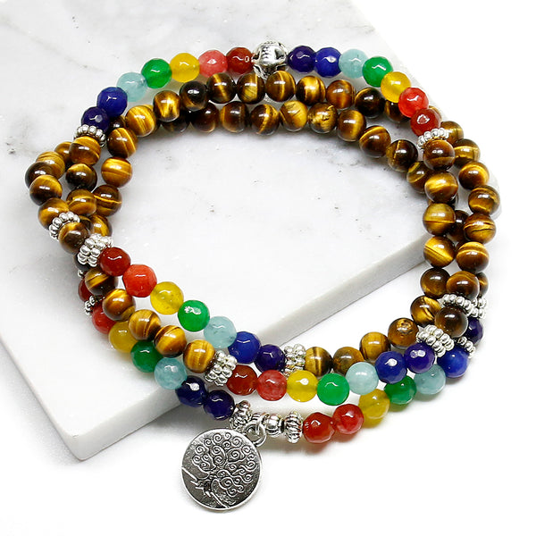 7 Chakra Tree of Life Tiger Eye Beaded Bracelet/Necklace