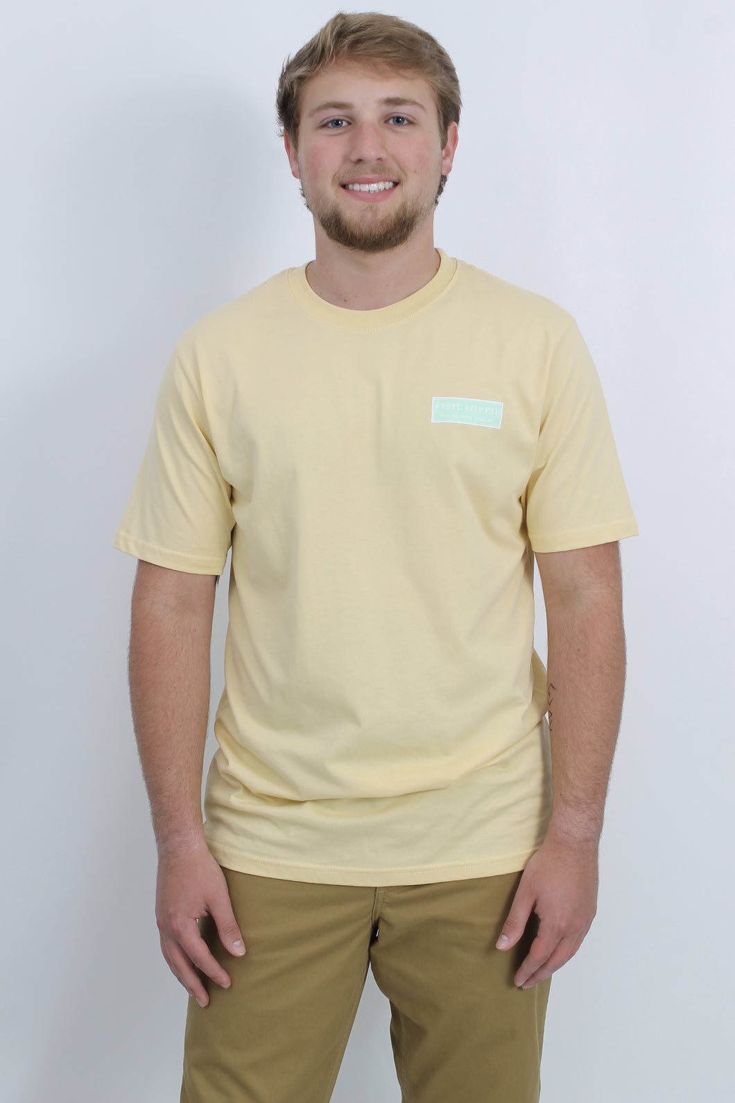 Yellow S/S- Fish Hippie Bar Fly Short Sleeve T-Shirt Front