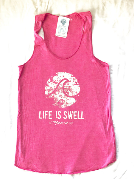 """Logo Wave - Hawaii""  Women's Eco Blend Racerback Tanks"