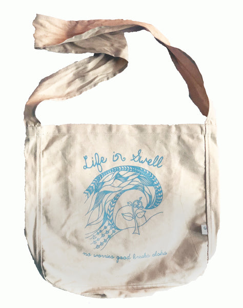 """Raised by the Ocean"" 100% ORGANIC Cotton Canvas Sling Tote - A beautiful gift wrap bag, too!"