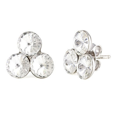 Earrings with Swarovski code 3121 Crystal white stones