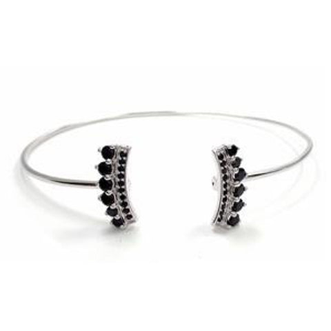 Black Spinel Crown Edge Cuff Bangle by Savvy Cie