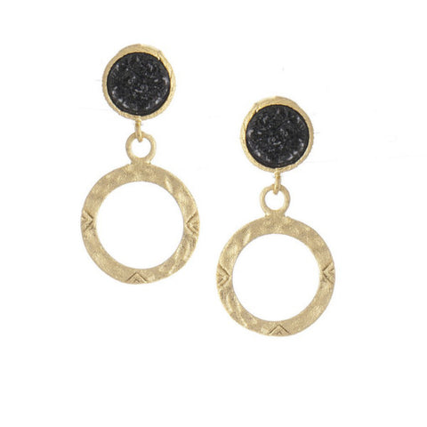 Black Druzy + Hammered Circle Dangle Earrings by Rivka Friedman