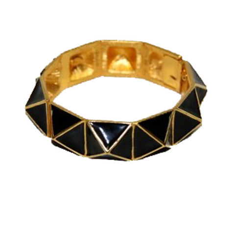 Black and Gold Geometric Bracelet by Kenneth Jay Lane