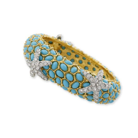 Turquoise And Crystal Starfish Bracelet by Kenneth Jay Lane