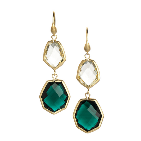 Emerald + Golden Olive Dangle Earrings by Rivka Friedman