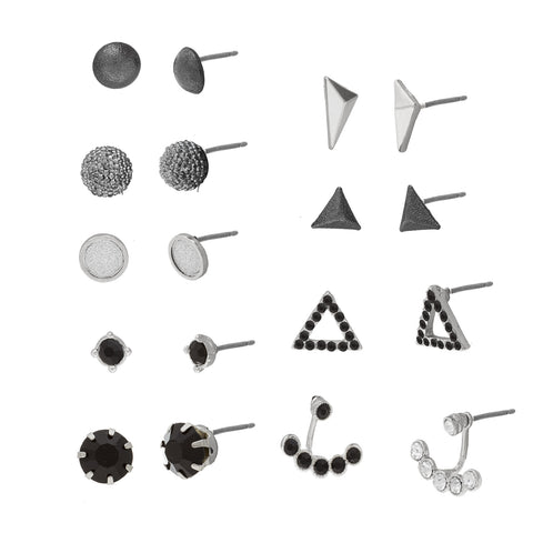 Two-Tone Black/Clear Cubic Zirconia 9 Piece Earring Set by Steve Madden
