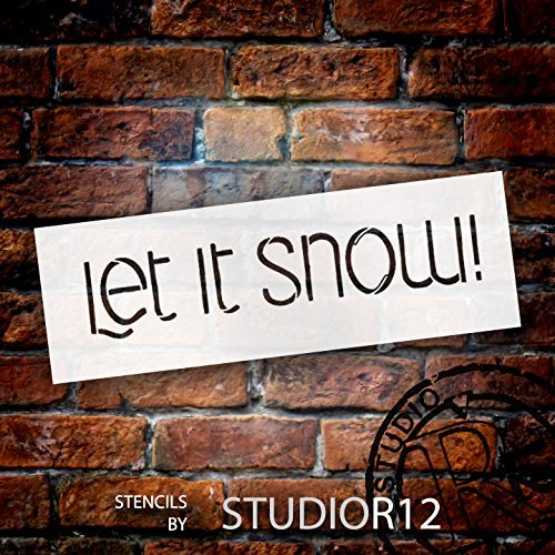 Let It Snow Stencil by StudioR12 | Funky Winter Word Art - Mini 6 x 2-inch Reusable Mylar Template | Painting, Chalk, Mixed Media | Use for Journaling, DIY Home Decor - STCL1469_1