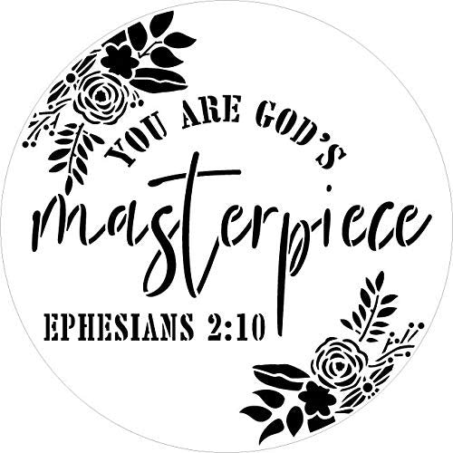 You are God's Masterpiece by StudioR12 | Ephesians 2:10 | Paint Wood Sign | Reusable Mylar Template | Christian Craft Floral Leaf | DIY Bible Verse Cursive Inspiration Faith | Select Size