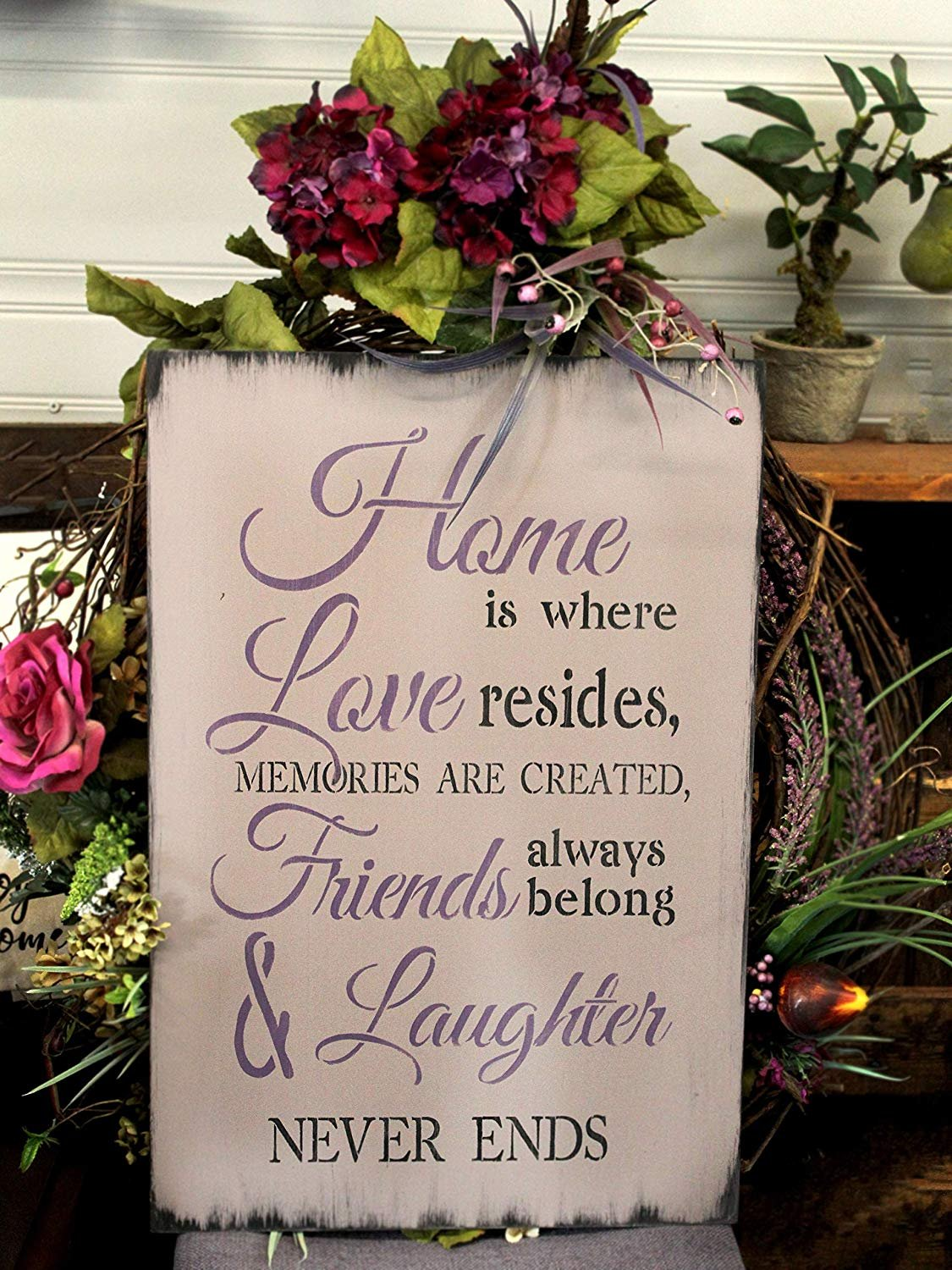 "Home is Where Love Resides Stencil by StudioR12 | Reusable Mylar Template | Use to Paint Wood Signs - Pallets - Pillows - DIY Home, Family & Love Decor - Select Size (12"" x 21"")"