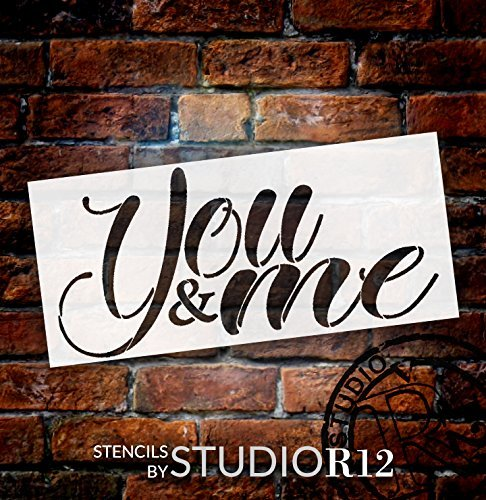 You & Me Stencil by StudioR12 | Reusable Mylar Template | Use to Paint Wood Signs - Pallets - Pillows - DIY Romantic Couples Decor - Select Size