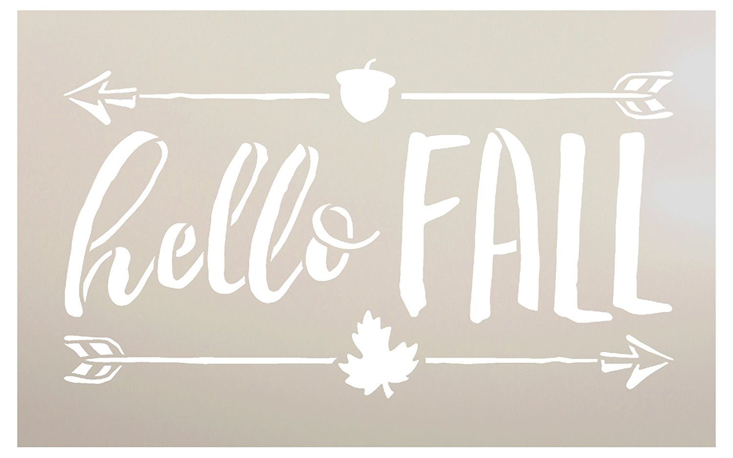 "Hello Fall Stencil by StudioR12 | Shabby Chic Word Art - Mylar Template | Painting, Chalk, Mixed Media | Use for Journaling, DIY Home Decor -CHOOSE SIZE (20"" x 12"")"