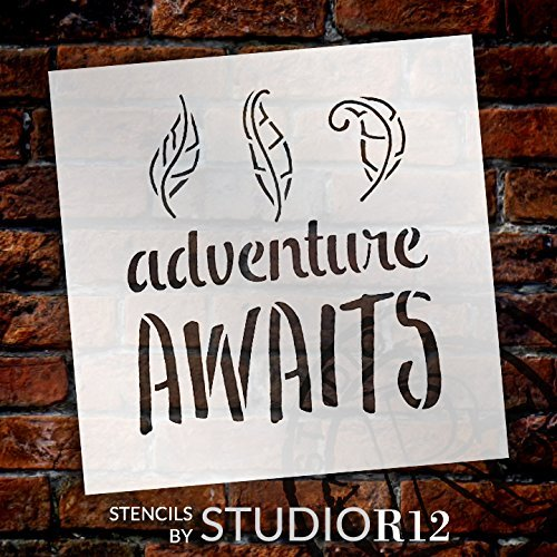 "Adventure Awaits - Curly Leaves - Word Art Stencil - 12"" x 12"" - STCL1775_3 - by StudioR12"